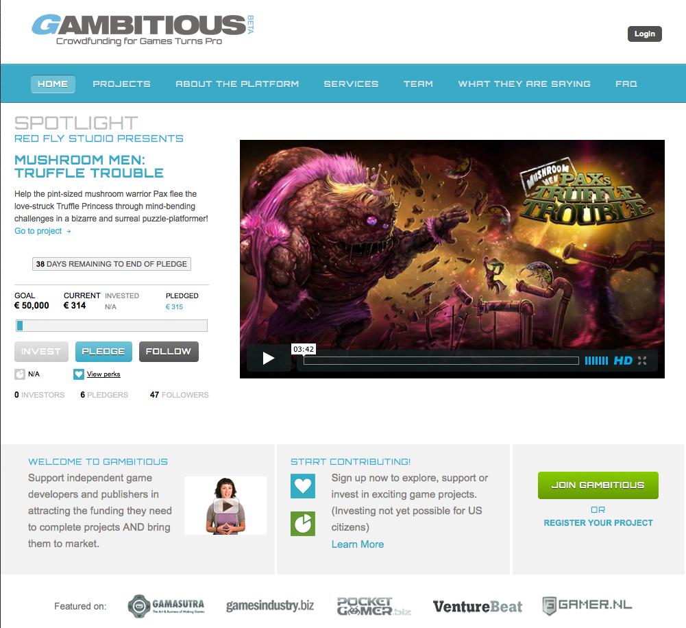 Gleich sieben Projekte zum Start. (Foto: Gambitious.com)