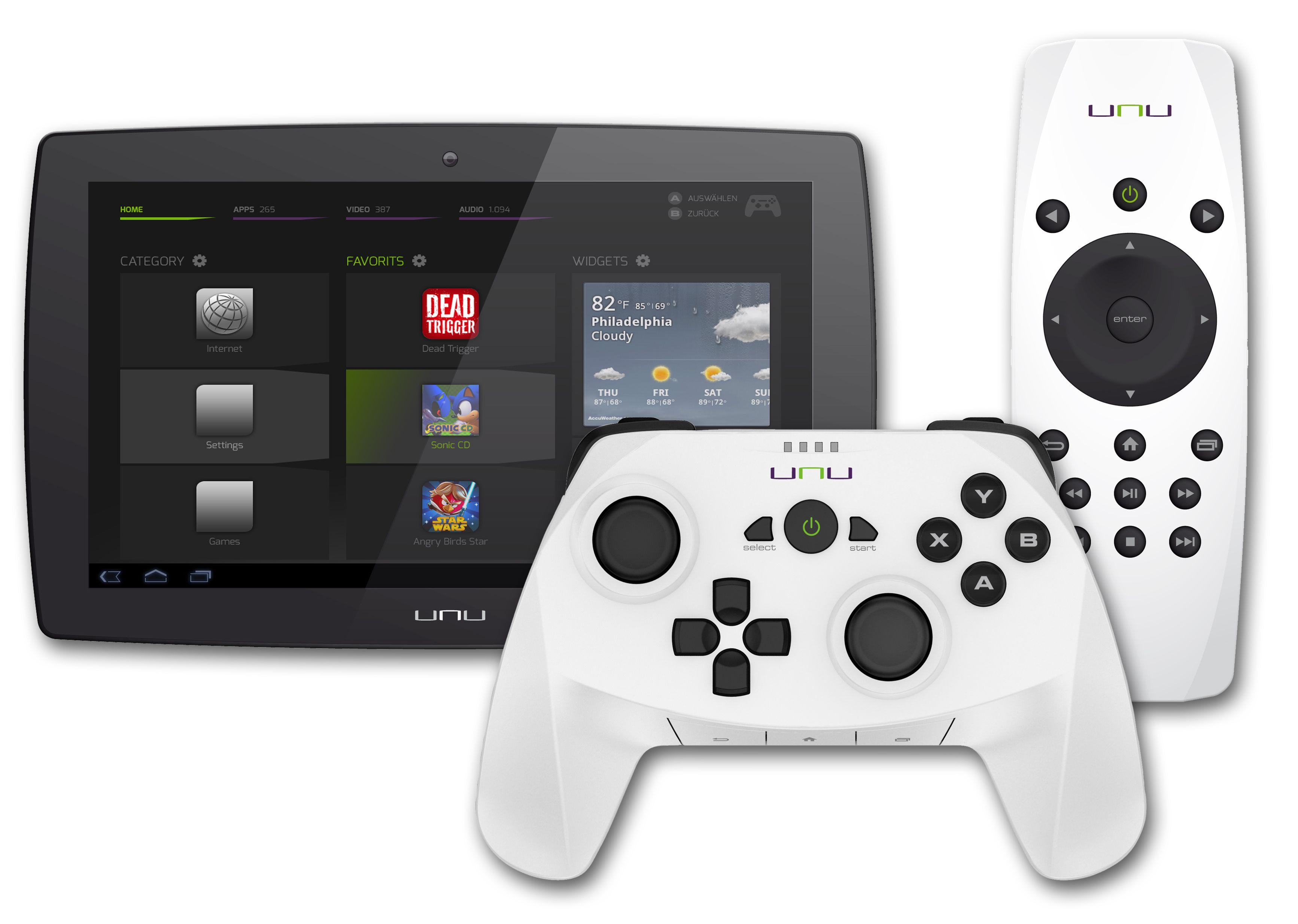 unu besteht aus Tablet, Fernbedienung, Docking-Station und optional Gaming-Controller. (Foto: Agentur Indigo Pearl)