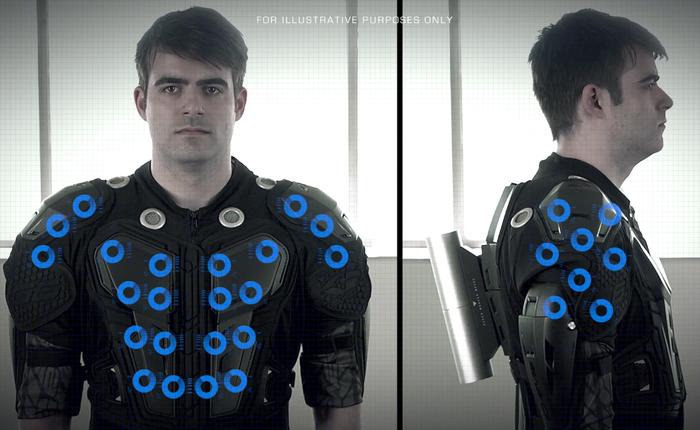 Der Subwoofer auf dem Rücken soll beim finalen Modell nicht so herausstehen. (Foto: Kickstarter)
