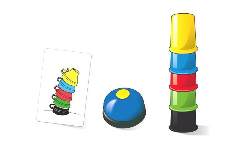 Die Vorgaben auf den Spielkarten müssen mit den Bechern nachgestlellt werden (Foto: Amigo-Spiele.de)