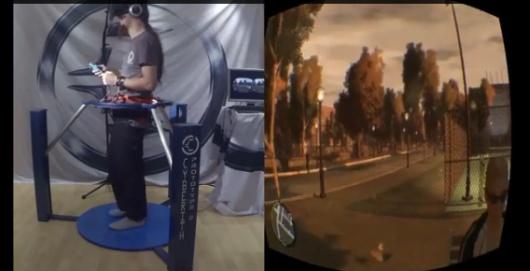 GTA IV aus der Ego-Perspektivie mit Laufband und Oculus Rift. (Foto: Youtube)