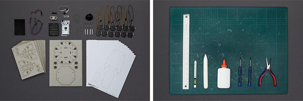 Links die Hardware. Rechts die nötigen Werkzeuge. (Foto: Zoobotics)
