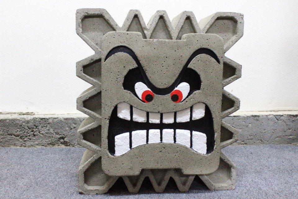 Sieht täuschend echt aus, oder? Dieser Beton-Thwomp könnte auch bald in euren vier Wänden stehen. (Foto: Instructables.com)