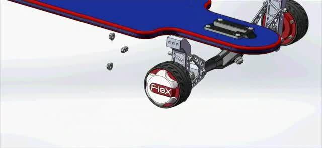 So kann das motorisierte Rad an einem Skateboard aussehen. (Foto: Kickstarter)
