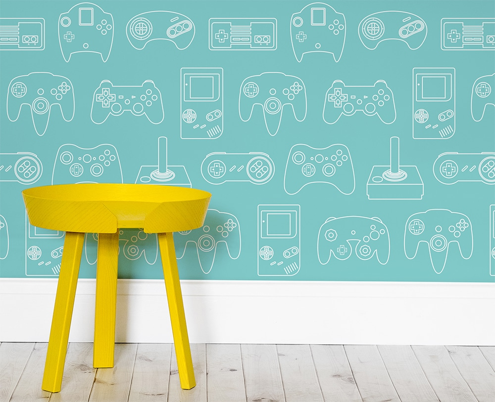 retro video game wallpapers schicke tapeten f rs spielezimmer. Black Bedroom Furniture Sets. Home Design Ideas