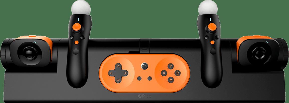 Klassisches Gamepad und Move-Controller. Zumindest sehen sie so aus. (Foto: Pico VR)