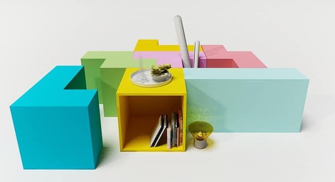 Möbel aus Tetris. (Foto: Serena Zanello)