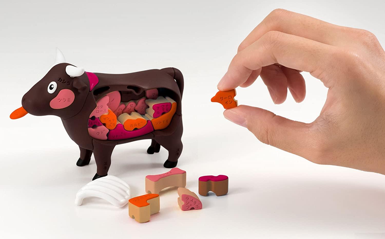Meat Puzzle: Schwein, Kuh, Fisch und Huhn als Puzzlespiele
