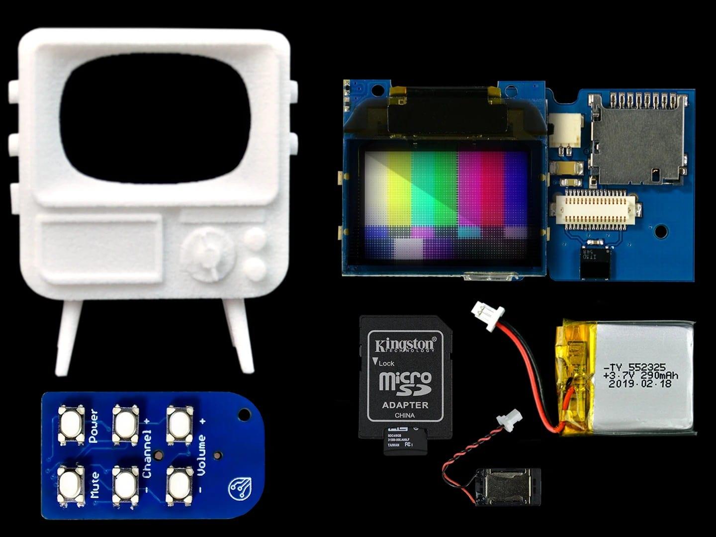 Das ist beim TinyTV DIY Kit alles dabei. (Foto: TinyCircuits)