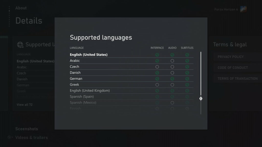 xbox supported language