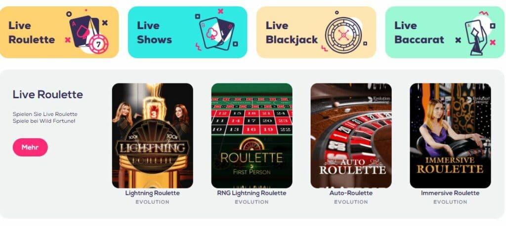 wild fortune live casino spiele