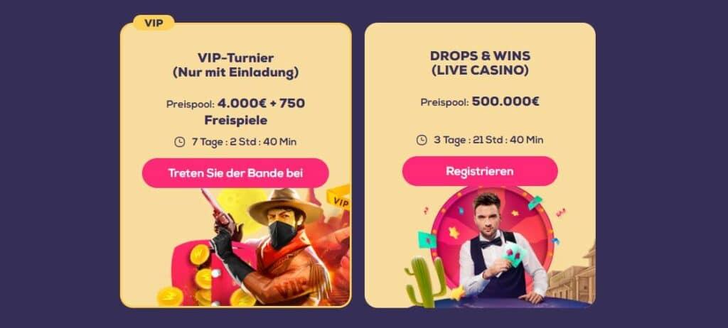 wild fortune turniere und prize drops